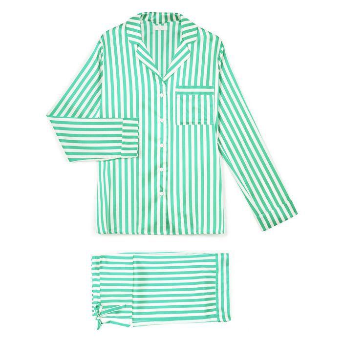 Sleep deprivation: Yolke Emerald King Stripe Stretch Silk Pyjama Set Emerald
