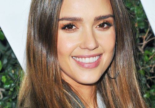 Jessica Alba with honey-toned dip-dye hair