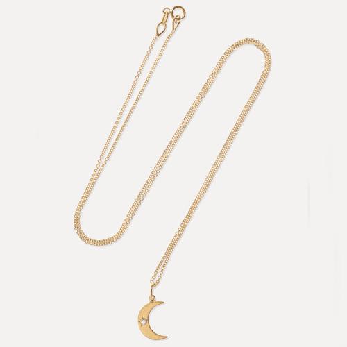 Andrea Fohrman Gold Crescent Moon 18-Karat Gold Diamond Necklace