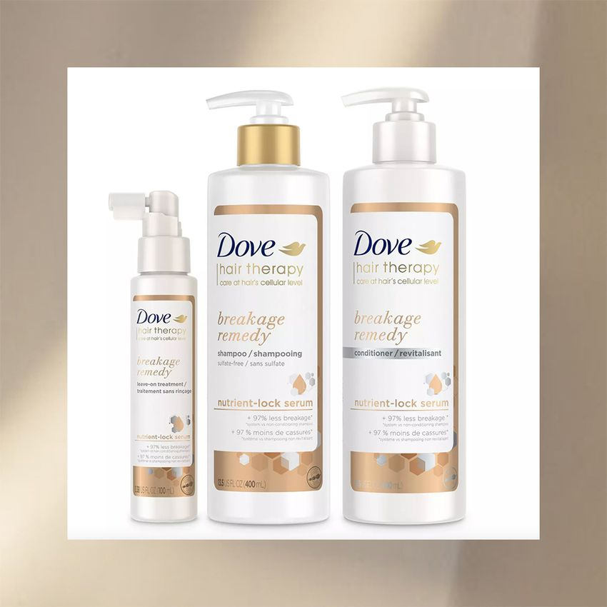Dove Hair Therapy Breakage Remedy shampoo, conditioner, and leave-in serum
