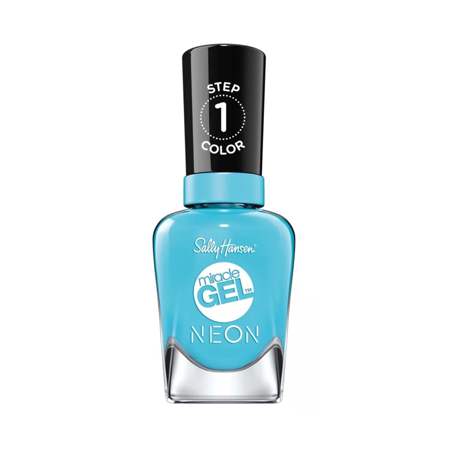 Bottle of neon blue nail polish with a black top.