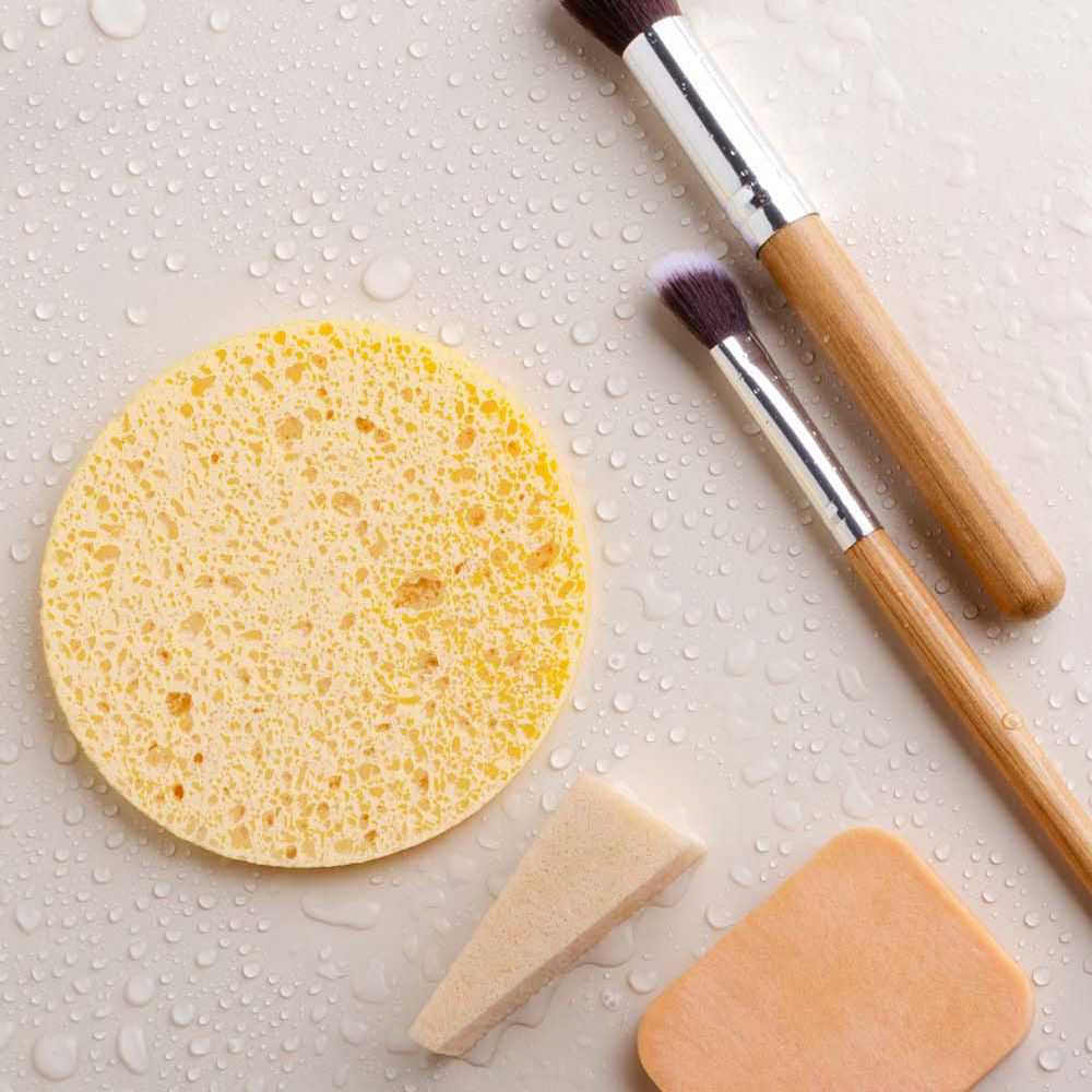 makeup brushes with bar soap and sponges