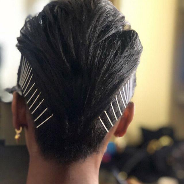 Backshot of fauxhawk with bobby-pinned sides