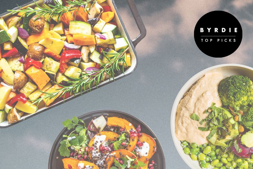 Photo composite of vegetables and rosemary in a roasting tray, a bowl of acorn squash and herbs, and a bowl of vegetables and dip