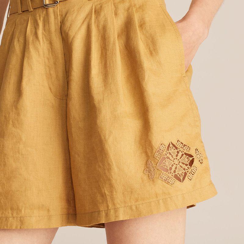 Crochet Diamond Linen Pleated Short