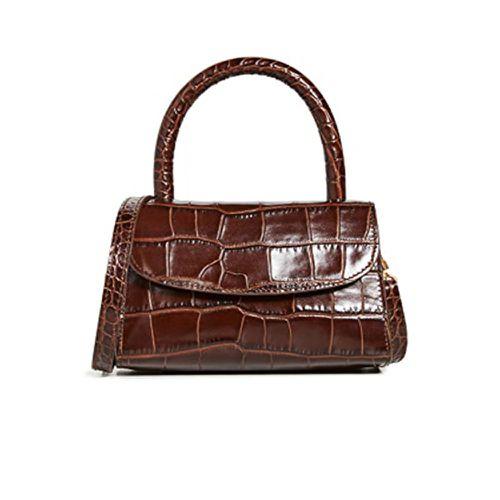Fall Handbag Shapes By Far Mini Nutella Croco Top Handle Bag
