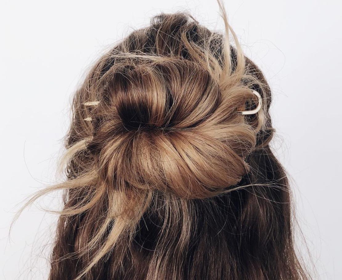 woman with hair in bun