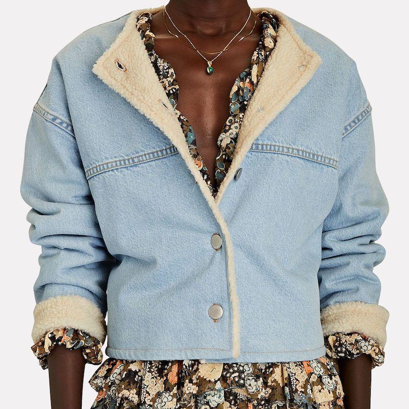 Overlover Ventura Faux Shearling-Trimmed Denim Jacket