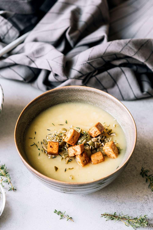 bowl of asian tofu veggie soup