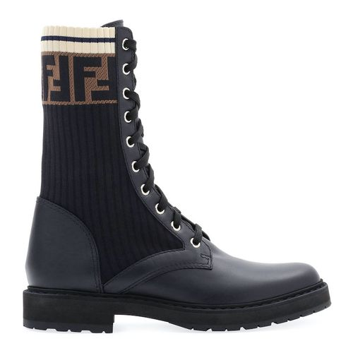 Fendi Leather Combat Boot with FF Cuff