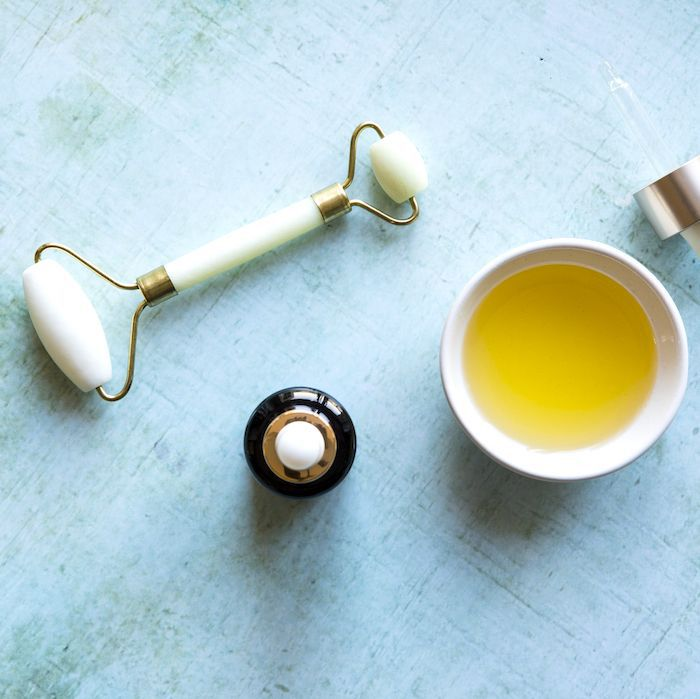 almond oil and roller