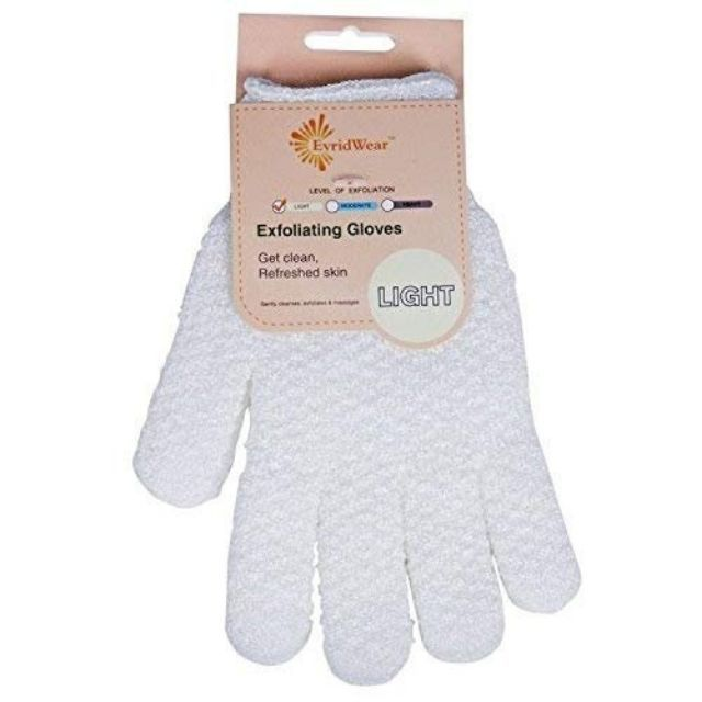 Evridwear Exfoliating Dual Texture Bath Gloves for Shower