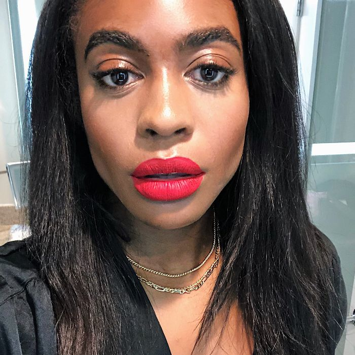 Beauty editor's selfie with makeup for a night out