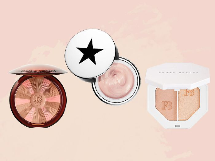 Summer glow beauty products by Guerlain, GlamGlow, and Fenty Beauty