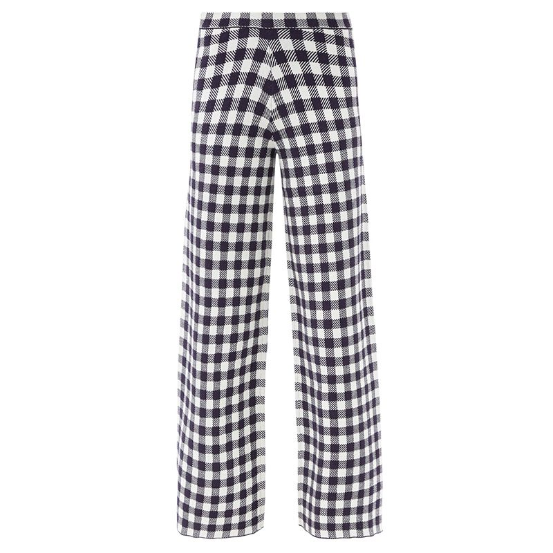 Avalancha Gingham Wide-Leg Knitted Trousers