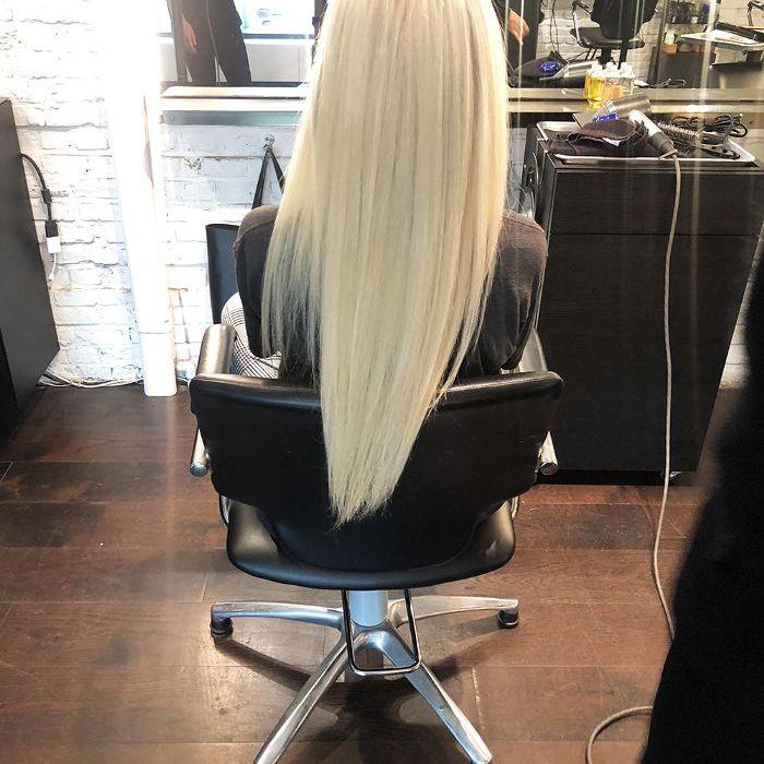 Double-process platinum hair color