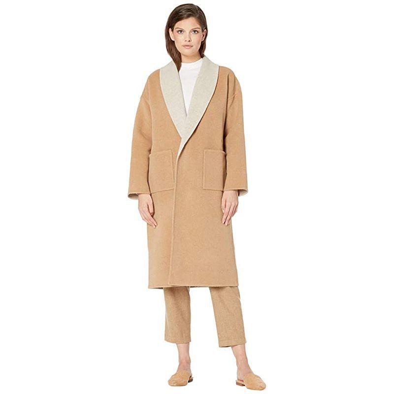 Eileen Fisher Doubleface Wool Shawl Collar Coat