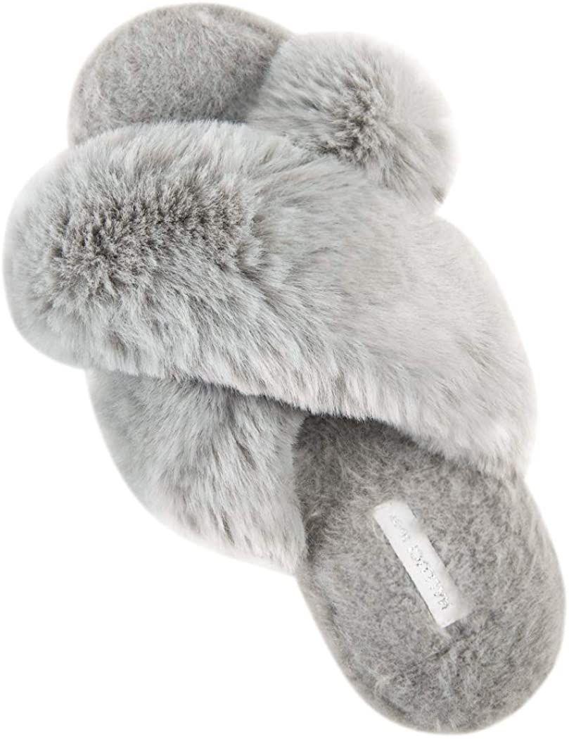 HALLUCI Cross Band Soft Plush Slippers