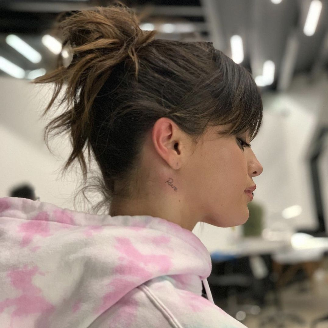 Selena Gomez neck tattoo