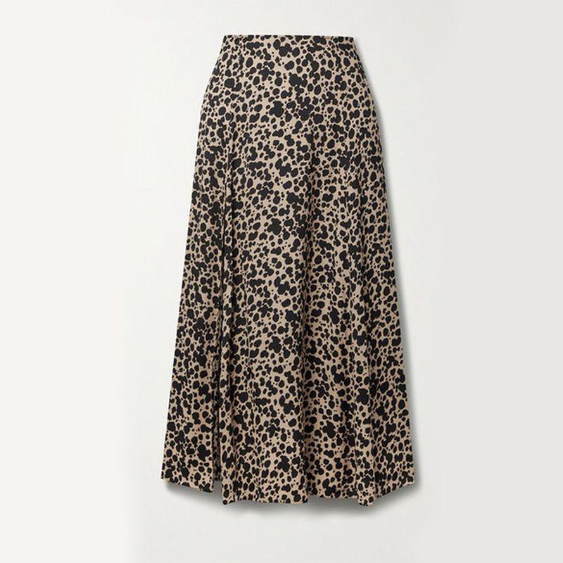 Zoe Leopard-Print Crepe Midi Skirt