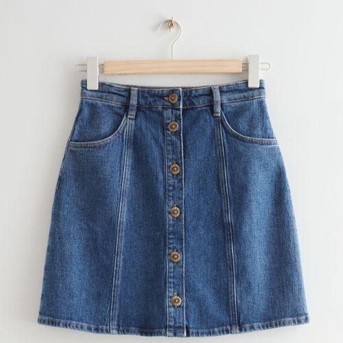& Other Stories Floral Button Denim Mini Skirt