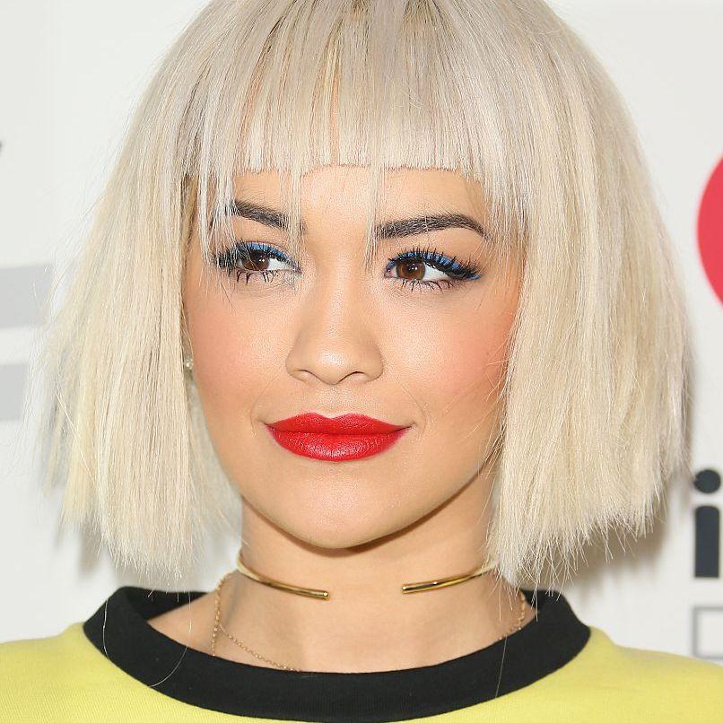 Rita Ora platinum bob with blunt bangs