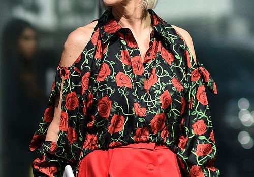 Linda Fargo outside fashion week