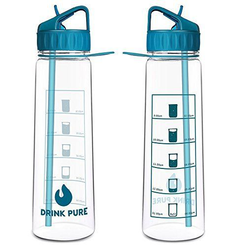 Drink Pure Motivational Water Bottle With Time Marker