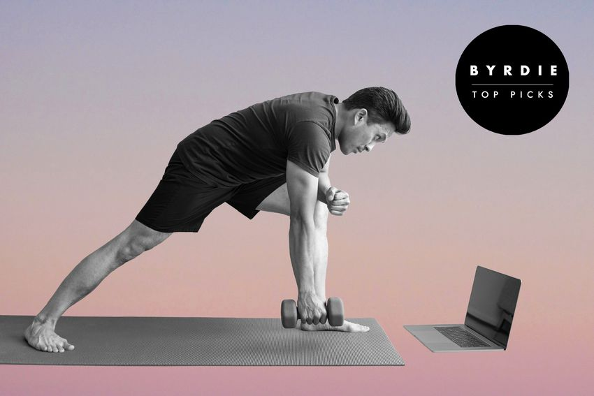 Photo composite of man working out in front of a laptop with a hand weight