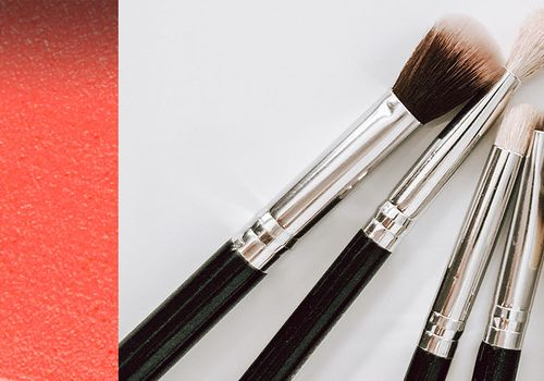 collage of a smeared makeup and makeup brushes