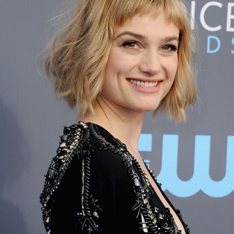 Alison Sudol textured A-line bob with micro bangs