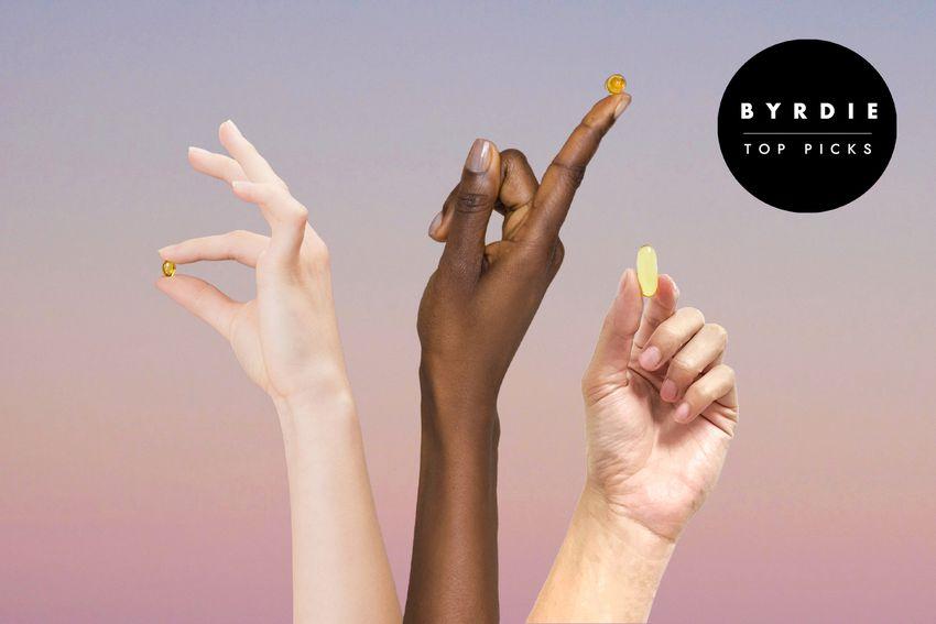 Photo composite of three hands holding vitamin capsules