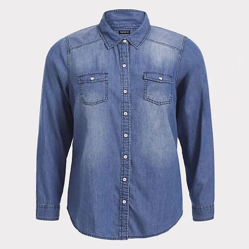 Medium Wash Denim Button Up Shirt