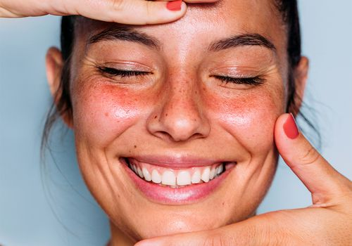 smiling person with fresh clean skin