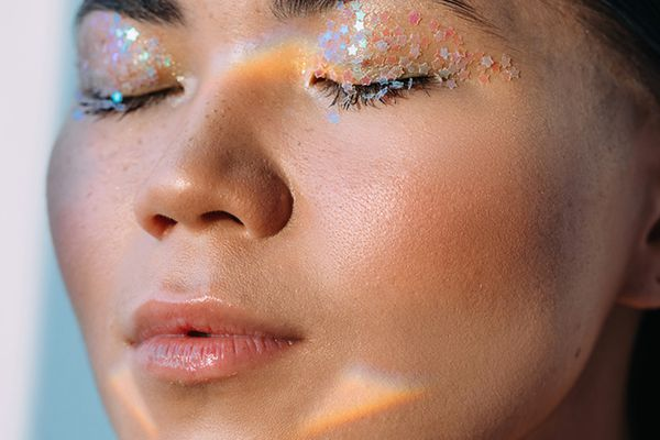 woman with glitter