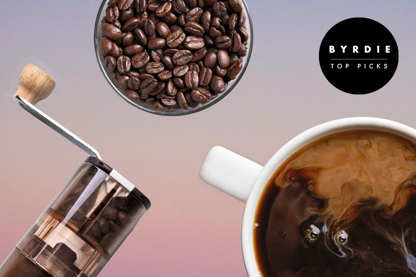 Photo composite of coffee beans, a hand coffee grinder, and an overhead shot of a brewed cup of coffee