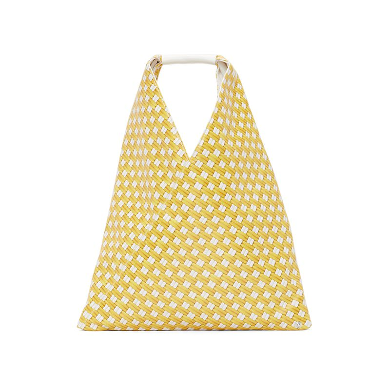 Yellow Faux-Leather Small Triangle Tote