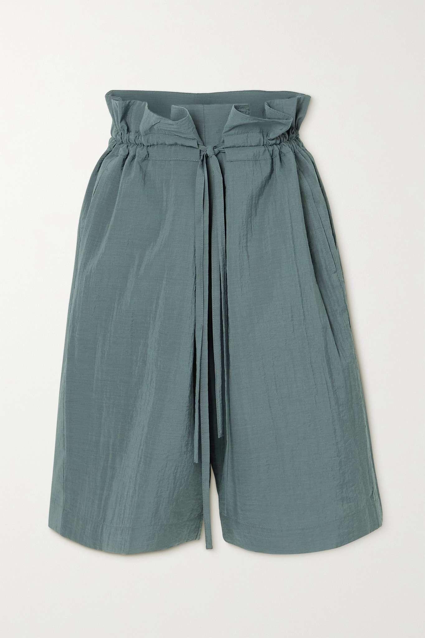 Le 17 Septembre Belted Crinkled Woven Shorts