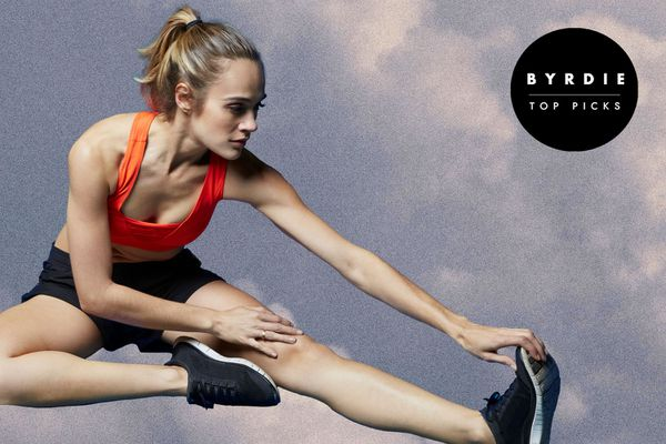 Photo composite of a woman in workout gear stretching.