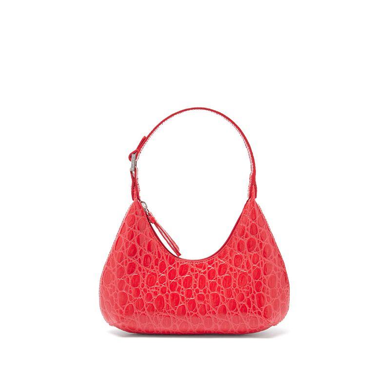 Baby Amber Mini Croc-Effect Leather Shoulder Bag