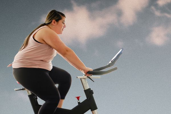 Photo composite of woman riding stationary bike.