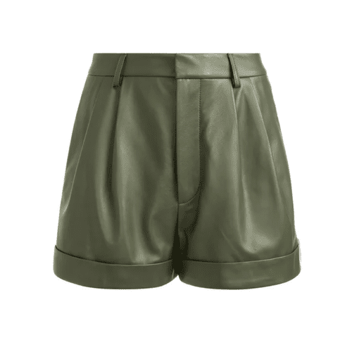 Alice and Olivia Conry Leather Pleated Cuff Shorts