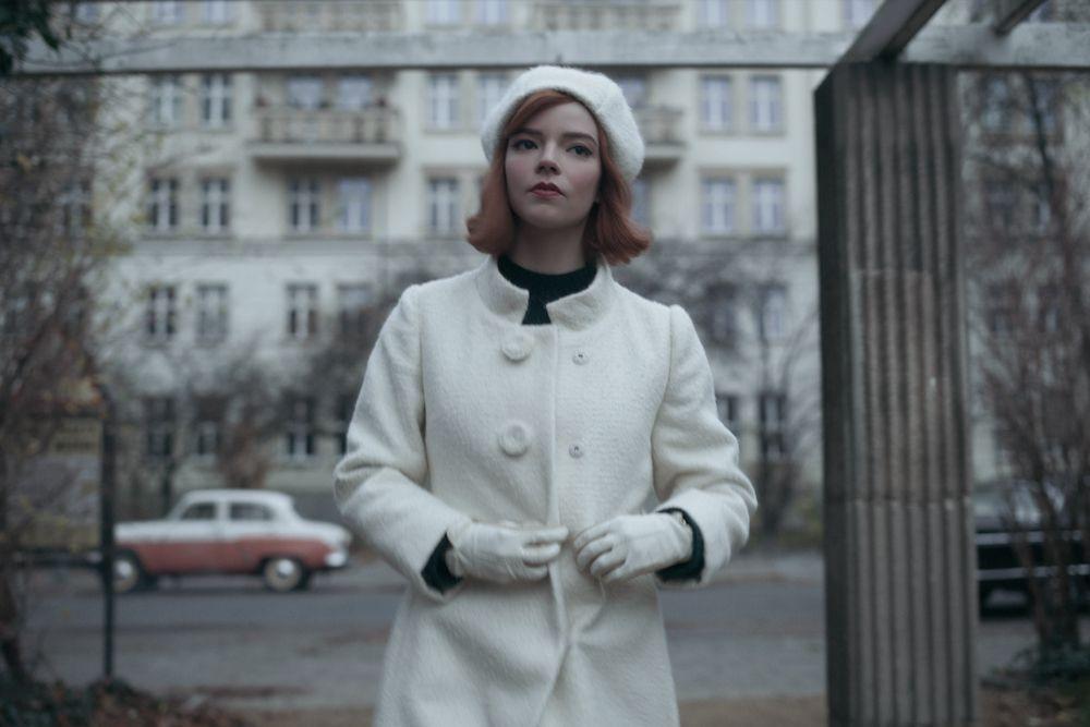 Queen's Gambit finale still in white coat and hat
