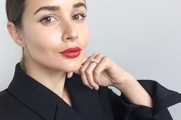 woman with red lipstick on