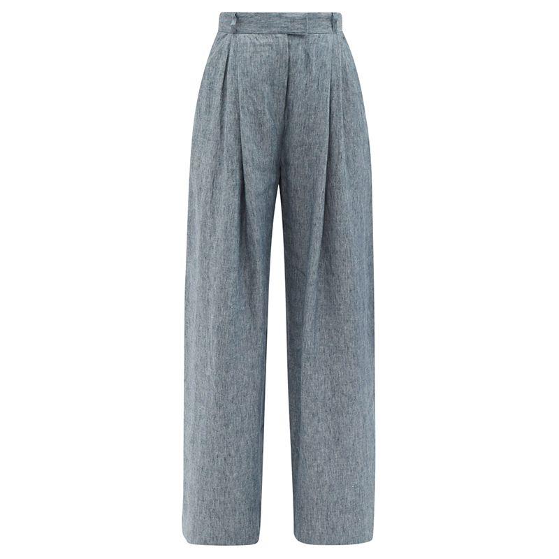 Molly High-Rise Linen-Denim Wide-Leg Trousers
