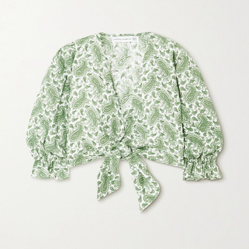 Jacinta Cropped Tie-Front Paisley-Print Linen Top
