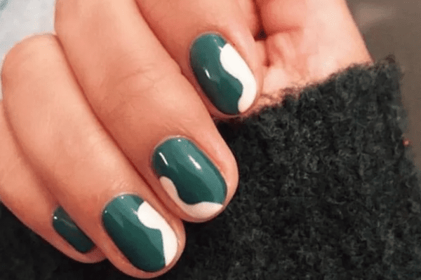 Green Squiggle Nails