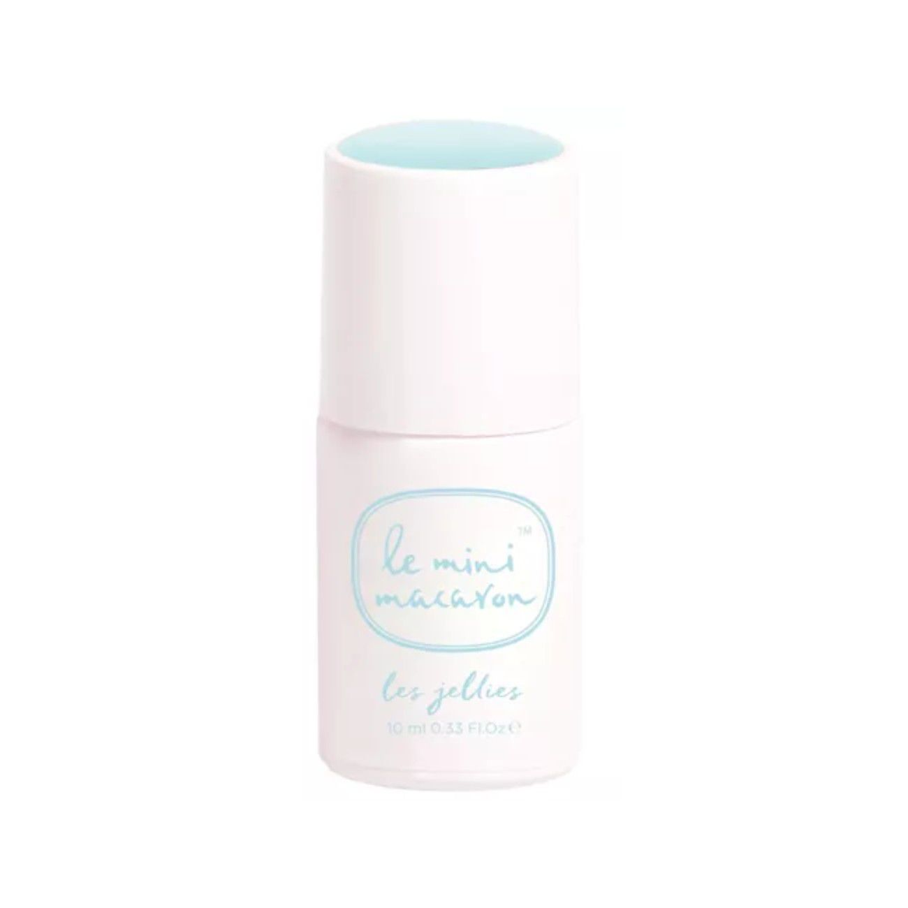 Bottle of white nail polish with light blue lettering.