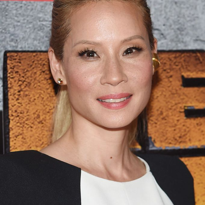 Lucy Liu high blonde pony, lifted at the crown and roots