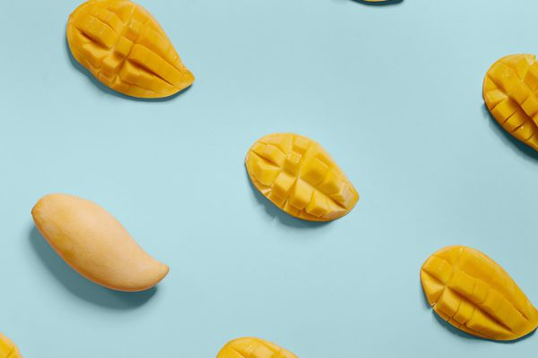 mangos on blue background